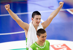 Alen Omic of Slovenia, Jaka Brodnik of Slovenia celebrate after winning the basketball match between National teams of Turkey and Slovenia in Qualifying Round of U20 Men European Championship Slovenia 2012, on July 17, 2012 in Domzale, Slovenia. Slovenia defeated Turkey 72-71 in last second of the game. (Photo by Vid Ponikvar / Sportida.com)