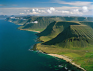 Ketildalir,  Arnarfjörður, Hvestudalur - ljós sandur lengst t.v. - Vaðall. Vesturbyggð former Ketildalahreppur,  / Ketildalir mountains in Arnarfjordur. Hvestudalur light sand - Vadall in far left background. Vesturbyggd former Ketildalahreppur.