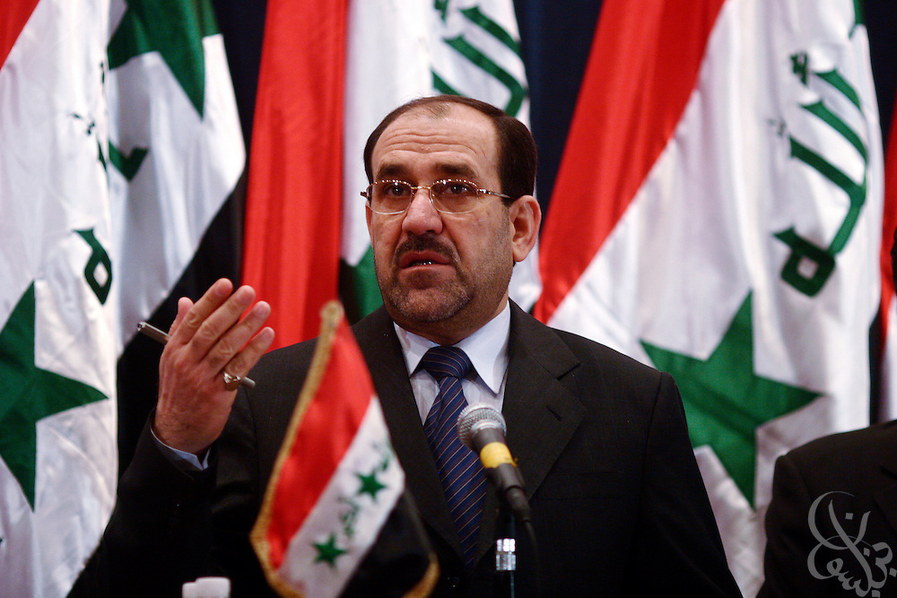 Iraqi Prime Minister-designate Nuri al-Maliki speaks with reporters during a press conference in Baghdad, Iraq, on Tuesday, May 9, 2006. At the press conference, Al-Maliki said he expects to finalize his cabinet within a few days, ending the stalemate that has prevented a national unity government since the elections five months ago.