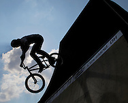 Jeremiah Smith competes at the AST Dew Tour Right Guard Open BMX Park Prelims Friday, July 18, 2008 in Cleveland, OH.