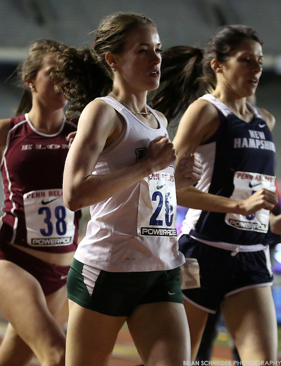 April 25, 2013; Philadelphia, PA, USA; Loyola University Maryland Greyhounds Kiera Harrison competes in the College Women's 10K Race at Franklin Field during the 119th Penn Relays in Philadelphia, PA. Mandatory Credit: Brian Schneider-www.ebrianschneider.com