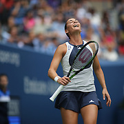 Flavia Pennetta, Italy, in action against Roberta Vinci Italy, in the Women's Singles Final match during the US Open Tennis Tournament, Flushing, New York, USA. 12th September 2015. Photo Tim Clayton