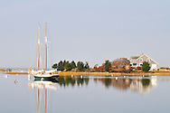 Single 2 masted sailboat moored in tranquil harbor Falmouth, Cape Cod