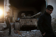 Iraq, Cartella: A tank hidden by ISIS inside a house is seen in Cartella. Alessio Romenzi