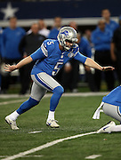 Detroit Lions kicker Matt Prater (5) kicks a second quarter field goal for a 17-7 Lions lead during the NFL week 18 NFC Wild Card postseason football game against the Dallas Cowboys on Sunday, Jan. 4, 2015 in Arlington, Texas. The Cowboys won the game 24-20. ©Paul Anthony Spinelli