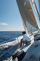 Man Sailing on Yacht