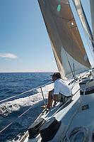 Man Sailing on Yacht