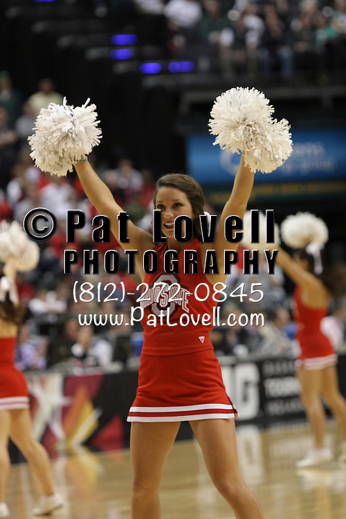 March 11, 2012:  Ohio State cheerleader during the championship game between Michigan State and Ohio State at the 2012 Big Ten Tournament held at Bankers Life Fieldhouse in Indianapolis, Indiana. Michigan State defeated Ohio State 68-64 and won the 2012 Big Ten Championship.