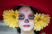 UNITED KINGDOM, London: 27 May 2018 Cosplay fan Christy Braybrook, dressed as Story of Life's La Muerte, poses for a picture outside of the MCM London Comic Con earlier today. The three day comic convention, which is held at London's ExCeL, was visited by thousands of avid cosplay fans and enthusiasts. Rick Findler / Story Picture Agency