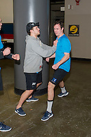KELOWNA, CANADA - DECEMBER 2: Cole Linaker #26 and Tyson Baillie #24 of Kelowna Rockets roughhouse during pre-ice warm up against the Kootenay Ice on December 2, 2015 at Prospera Place in Kelowna, British Columbia, Canada.  (Photo by Marissa Baecker/Shoot the Breeze)  *** Local Caption *** Cole Linaker; Tyson Baillie;