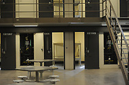 An interior of one of the inmate housing units is seen during a tour through the newest prison in Pennsylvania Friday, September 01, 2017 at State Correction Institution Phoenix in Skippack, Pennsylvania. The facility is inching closer to opening, two years late, to replace Graterford Prison at a cost of $400 million. (Photo by William Thomas Cain/CAIN IMAGES)