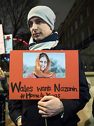 © Licensed to London News Pictures. 05/12/2017. London, UK. Supporters of jailed British Iranian woman Naznin Zaghari Ratcliffe sing carols outside Downing Street as they call on the government to secure her release before Christmas. Photo credit: Rob Pinney/LNP