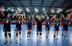Players of Slovenija celebrate at Women European Championships Qualifying handball match between National Teams of Slovenia and Belarus, on October 17, 2009, in Kodeljevo, Ljubljana.  (Photo by Vid Ponikvar / Sportida)