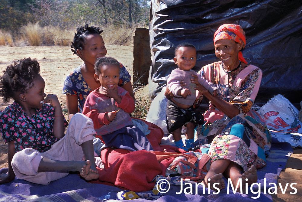 A family if African Bushmen tribal members, in Namibia.