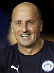 Wigan Athletic manager Paul Cook during the Sky Bet Championship match at the DW Stadium, Wigan.