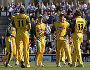 2005 Twenty/20 Cricket England vs Australia, The Rose Bowl, Southampton, Hampshire, ENGLAND 13.06.2005, Team Mates move in to congratulate Andrew Symond after he takes a mid wicket catch .Photo  Peter Spurrier. .email images@intersport-images...