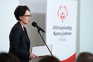 Dorota Idzi during 30 years anniversary of The Special Olympics Poland at Presidential Palace in Warsaw on March 18, 2015.<br /> <br /> Poland, Warsaw, March 18, 2015<br /> <br /> For editorial use only. Any commercial or promotional use requires permission.<br /> <br /> Mandatory credit:<br /> Photo by © Adam Nurkiewicz / Mediasport