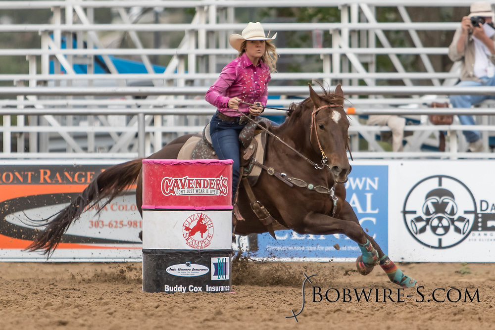 Karson Bradley makes her barrel racing run during slack at the Elizabeth Stampede on Sunday, June 3, 2018.