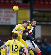 Dundee&rsquo;s Marcus Haber outjumps St Johnstone&rsquo;s Joe Shaughnessy - Dundee v St Johnstone in the Ladbrokes Scottish Premiership at Dens Park, Dundee - Photo: David Young, <br /> <br />  - &copy; David Young - www.davidyoungphoto.co.uk - email: davidyoungphoto@gmail.com