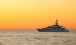 THEMENBILD - URLAUB IN KROATIEN, die Talisman C Yacht bei Sonnenuntergang, aufgenommen am 03.07.2014 in Porec, Kroatien // Talisman C Yacht at sunset at Porec, Croatia on 2014/07/03. EXPA Pictures © 2014, PhotoCredit: EXPA/ JFK
