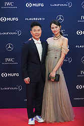 MONACO, Feb. 19, 2019  Laureus Academy Member, Chinese gymnastics Olympic champion Li Xiaopeng and his wife Li Anqi pose on the red carpet at the 2019 Laureus World Sports Awards ceremony in Monaco, Feb. 18, 2019. The 2019 Laureus World Sports Awards were unveiled in Monaco on Monday. (Credit Image: © Zheng Huansong/Xinhua via ZUMA Wire)