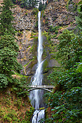 View of Multnomah Falls, a waterfall in the Columbia River Gorge National Scenic Area in Oregon
