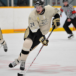 TRENTON, ON - Jan 5 : Ontario Junior Hockey League game between Stouffville Spirit and Trenton Golden Hawks. Ori Abramson #24 of the Trenton Golden Hawks skates with the puck during second period game action..(Photo by Shawn Muir / OJHL Images)
