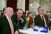 "Vienna, Austria. Cocktail reception hosted by Mayor Michael Häupl at City Hall for international scientists and researchers living and working in Vienna.<br /> Podium discussion ""The Experiences of International Scientists and Researchers Living and Working in Vienna - Challenges and rewards"".<br /> From l.: Michael Häupl, Mayor of Vienna; Alexander van der Bellen, Commissioner for Universities and Research; Andreas Mailath-Pokorny, Executive City Councillor for Cultural Affairs and Science."
