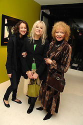 Left to right, LEAH WOOD, her mother JO WOOD and her mother RACHEL KARSLAKE at an exhibition of artist Paul Karslake's work entitled Ideas & Idols, held at Scream, 34 Bruton Street, London W1 on 21st February 2008.<br />