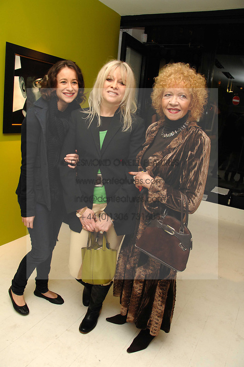 Left to right, LEAH WOOD, her mother JO WOOD and her mother RACHEL KARSLAKE at an exhibition of artist Paul Karslake's work entitled Ideas &amp; Idols, held at Scream, 34 Bruton Street, London W1 on 21st February 2008.<br />
