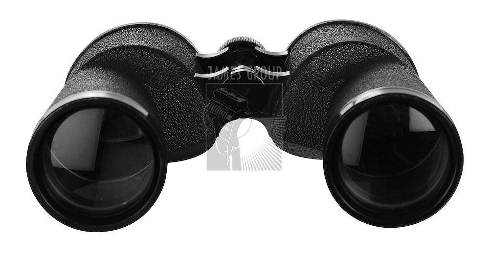 binoculars isolatede on white with clipping path looking into front lenses