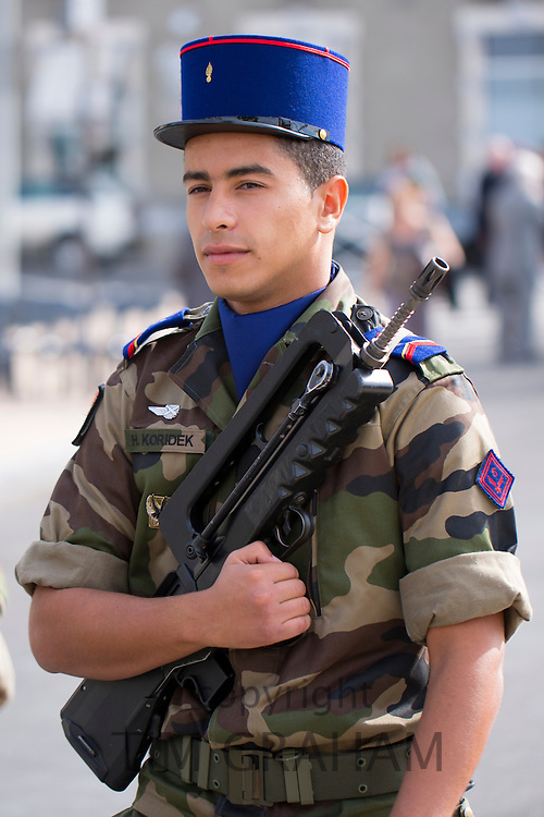 Soldier in the French military attending parade in Pau in the Pyrenees, France