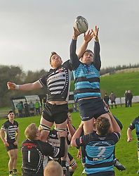 Castlebar's Simon Staunton contests a lineoutwith Ballinrobe's Dave Madden  during the junior cup tie in Castlebar.<br />