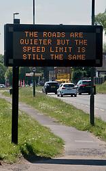 Speed limit warning during Coronavirus lockdown, Surrey, UK May 2020