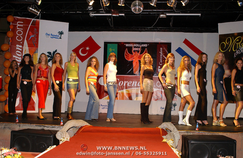 Miss Nederland 2003 reis Turkije, repetities show, alle missen