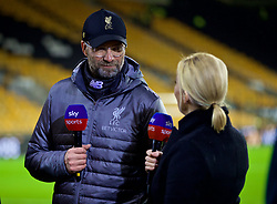 WOLVERHAMPTON, ENGLAND - Friday, December 21, 2018: Liverpool's manager Jürgen Klopp gives a post-match interview to Sky Sports' presenter Kelly Cates after the FA Premier League match between Wolverhampton Wanderers FC and Liverpool FC at Molineux Stadium. Liverpool won 2-0. (Pic by David Rawcliffe/Propaganda)