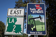 Road sign in the Haynesville Shale region in Northern Louisiana.