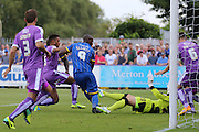 Tom Elliott of AFC Wimbledon during the Sky Bet League 2 match between AFC Wimbledon and Plymouth Argyle at the Cherry Red Records Stadium, Kingston, England on 8 August 2015. Photo by Stuart Butcher.