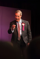 @Licensed to London News Pictures 06/05/15. Broadstairs, Kent. Nigel Farage rallies the UKIP party faithful for the last time tonight before tomorrows polling stations open for the 2015 general election. Photo credit: Manu Palomeque/LNP