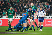 Antoine Dupont (FRA) and Guilhem Guirado (FRA) stopped Jonathan Sexton (IRL) during the NatWest 6 Nations 2018 rugby union match between France and Ireland on February 3, 2018 at Stade de France in Saint-Denis, France - Photo Stephane Allaman / ProSportsImages / DPPI