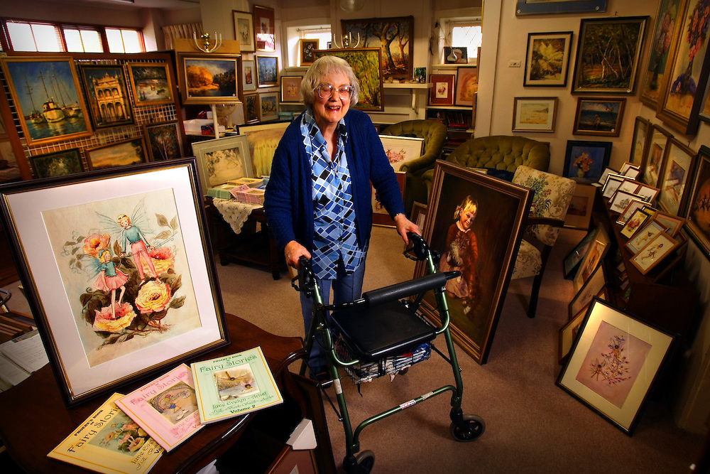 June Banks-Smith with her art including her paintings of fairies Pic By Craig Sillitoe 27/11/2009 SPECIAL 000 melbourne photographers, commercial photographers, industrial photographers, corporate photographer, architectural photographers, This photograph can be used for non commercial uses with attribution. Credit: Craig Sillitoe Photography / http://www.csillitoe.com<br /> <br /> It is protected under the Creative Commons Attribution-NonCommercial-ShareAlike 4.0 International License. To view a copy of this license, visit http://creativecommons.org/licenses/by-nc-sa/4.0/.