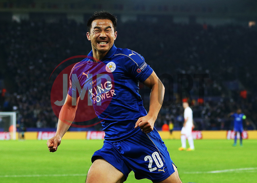 Shinji Okazaki of Leicester City celebrates after scoring his sides first goal - Mandatory by-line: Matt McNulty/JMP - 22/11/2016 - FOOTBALL - King Power Stadium - Leicester, England - Leicester City v Club Brugge - UEFA Champions League