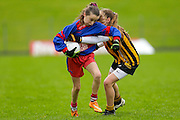 Cumann na mBunscol Primary School Finals at Pairc Tailteann, 14th Noverber 2015.<br /> Girls Division 1 Final: Dunboyne NS vs Cannistown NS<br /> Rachael Kane (Dunboyne NS) & Sarah Muldoon (Cannistown NS)<br /> Photo: David Mullen /www.cyberimages.net / 2015