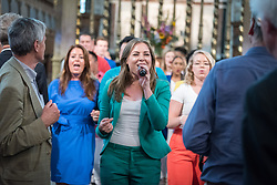 23 August 2018, Amsterdam, Netherlands: Soundwise Gospel Choir led by Kirsten Michel. Hundreds of people gather from across the world for an ecumenical prayer service at the Nieuwe Kerk, a 15th-century church in Amsterdam, to celebrate the 70th anniversary of the World Council of Churches at the very spot in which the organization was founded. Under the theme ìWalking, Praying and Working Together,î pilgrims from all over the world attend the service.