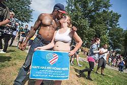 Aug 19, 2017 - Boston, Massachusetts, U.S. - Counter protesters swarm a Free Speech Rally march at Boston Common, blocking traffic on Tremont Street. (Credit Image: ? Derek Kouyoumjian/ZUMA Wire/ZUMAPRESS.com)