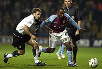 Picture: Henry Browne.<br /> Date: 11/02/2004.<br /> Fulham v Aston Villa FA Barclaycard Premiership.<br /> <br /> Darius Vassell of Villa battles with Moritz Volz of Fulham.