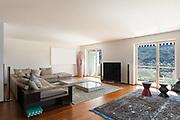 Interior of apartment, wide living room, parquet floor
