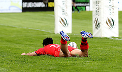 David Lemi left wing for Bristol Rugby scores a try - Mandatory by-line: Robbie Stephenson/JMP - 23/04/2016 - RUGBY - Goldrington Road - Bedford, England - Bedford Blues v Bristol Rugby - Greene King IPA Championship