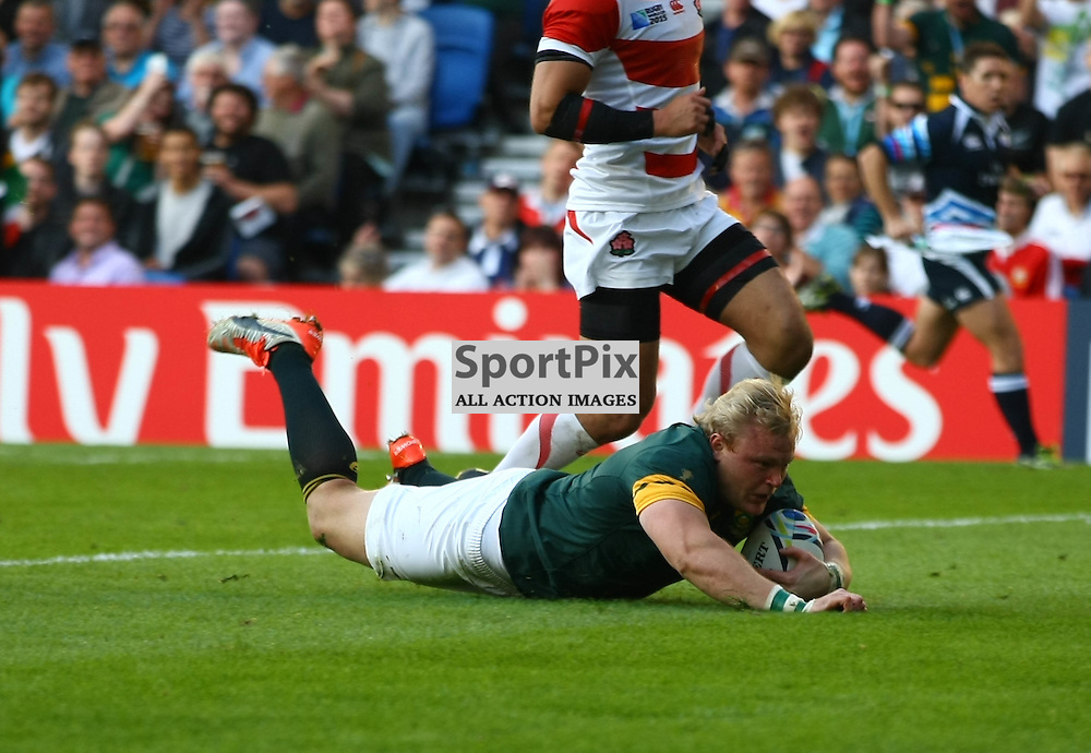 South Africas Adriaan Strauss score Soutyh Africas second try of th esecond half.  Rugby World Cup group game from Pool B between South Africa and Japan. at Brighton Community Stadium. (c) Matt Bristow | SportPix.org.uk