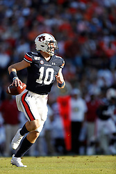 Auburn Tigers quarterback Bo Nix (10) during the Alabama Crimson Tide at Auburn Tigers college football game in Auburn, Alabama, November 30, 2019. Auburn won 48-45. Paul Abell/Athlon Sports